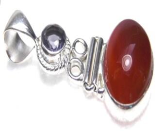 Carnelian Red Cabochon Amethyst Sterling Silver Pendant