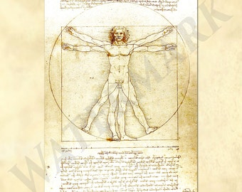 Leonardo da Vinci beautiful replica his Vitruvian Man - sketch - codex - antique repro digital download