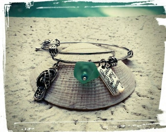 Oceans Journey - Beach Bracelet - Adjustable Charm Bangle in Stainless Steel - Sea Glass, Flip Flop, Palm Tree, 'Find joy in the Journey'