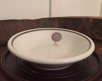 Vintage Shenango Hotel Restaurant Ware Bowl with Letter C Monogram and Gray Rim