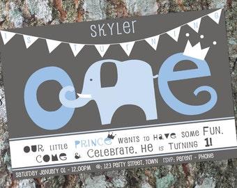 Elephant First Birthday Invitation - Boys First Birthday - Little Prince Invite - Blue Elephant Design