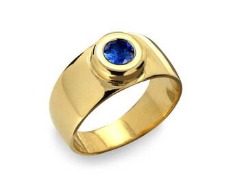 AURA Gold Sapphire Band, Sapphire Wedding Band, Blue Sapphire Ring, Sapphire Men's Ring, Men's Wedding Band, Gold Sapphire Ring