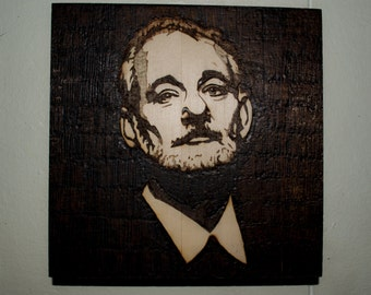 Bill Murray Handmade Wood Burned Pop Art Wall Art Pyrography