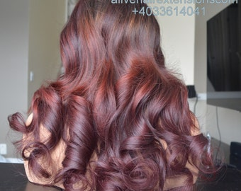 Human Hair Wig / Exotic Redhead Wig Custom Made with Virgin European Hair / 350grams with 4x4 lace area