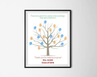 Fingerprint Tree, Teacher Tree, Teacher Fingerprint Tree, Classroom Tree, Printable Wall Art, Teacher Appreciation, 8x10 Digital Print
