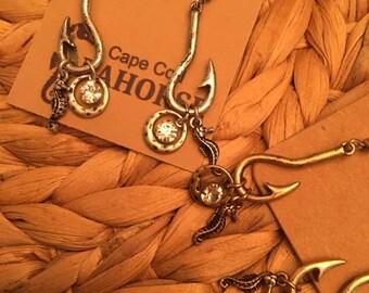 Seahorse & Fishing Hook Earrings