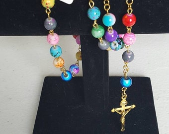 Colorful 5 decade rosary