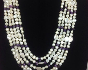 5 strand pearl and amethyst necklace