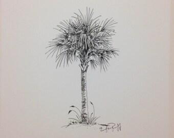 Original Palmetto Tree pen and ink - Print