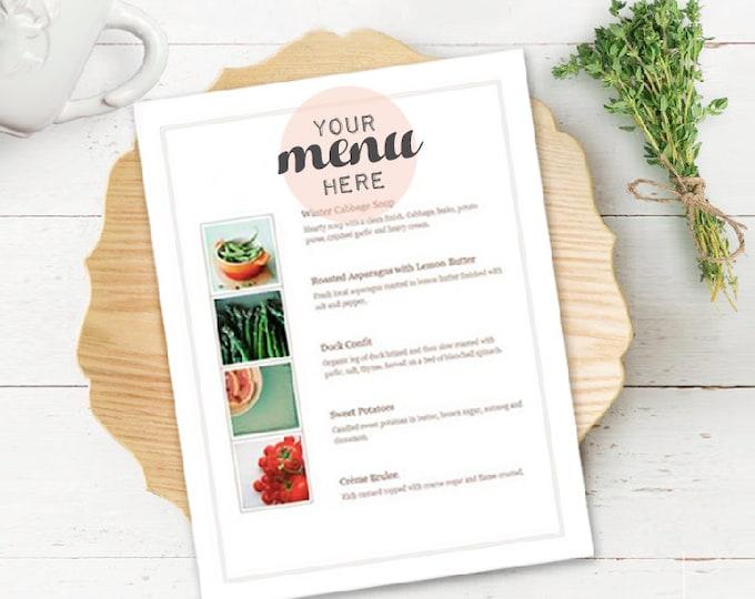 Rustic Menu Mockup, wood Plate Setting mockup, Menu Mockup, Styled Stock Photography, Wedding Plate scene Mockup (A2.Menu.Mockup)