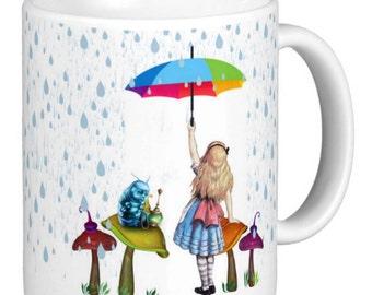 Alice's Adventures In Wonderland, Alice In The Rain Gift Mug, Alice Mug With Rain And Caterpillar