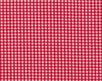 Cherry Red Gingham Cotton Fabric By-the-Yard