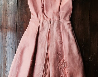 Vintage 50's or 60's Silk Party Dress - peach/ coral