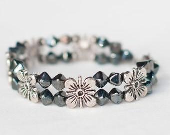 Beautiful Hard Coal Bracelet with Big Silver Flowers