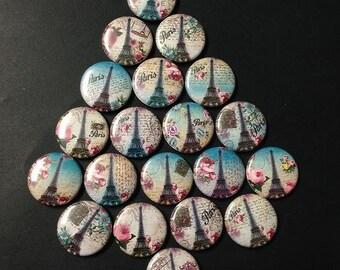 Paris Eiffle Tower Themed Buttons  Set of 20