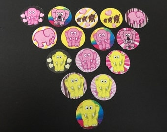 Elephants Pink & Yellow Buttons Set of 15
