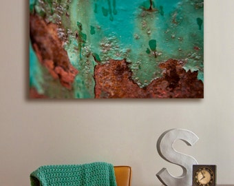 Canvas printing | turquoise and rusty metal macro photography | industrial look