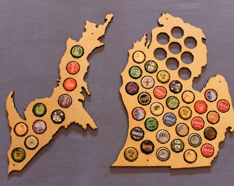Michigan Craft Beer Cap Map, Gifts for Him, Natural Birch finish