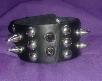 Black Leather Spiked Bracelet Cuff - Goth, Rock, Metal, Punk, Spikes