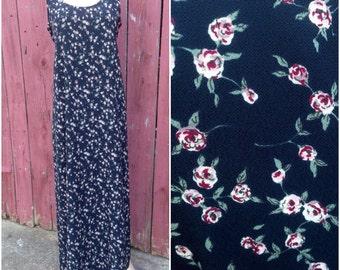 Black floral dress, Vintage 90s revival floral print rose maxi long grunge hippie boho bohemian summer sleeveless tie back dress women