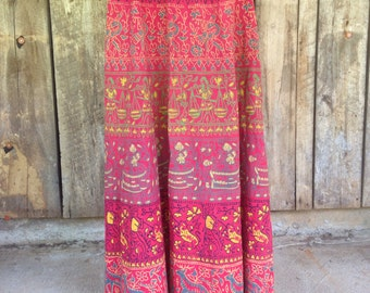 Vintage 70s ethnic Indian block print red cotton boho bohemian long high waist maxi festival skirt