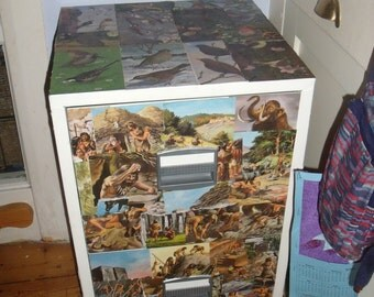 decoupaged filing cabinet