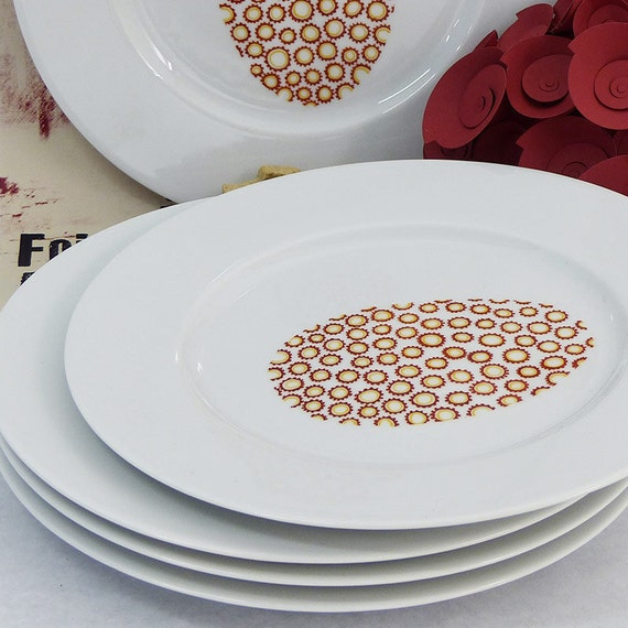 Hand painted porcelain plates - Modern flowers