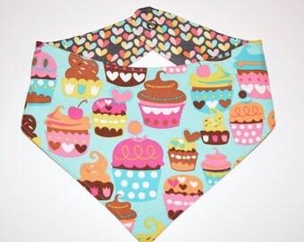 Cupcakes & Love Bugs (Aqua), Reversible Dog Bandana, Snap Closure Bandana