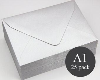 25 - Silver Metallic Euro Flap RSVP Envelopes - A1 (3 5/8 x 5 1/8)