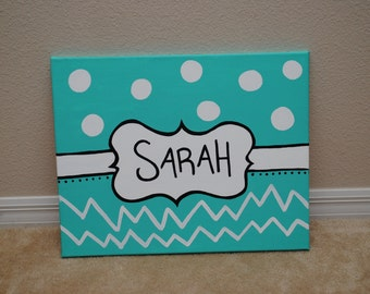 Custom Hand Painted Name Canvas