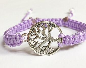 Family Tree Charm Bracelet, Lavender Nylon Family Tree Braided Charm Bracelet