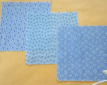 Three 19th Century Prussian Blue Fabric Swatches