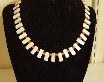 Shell and carnelian necklace