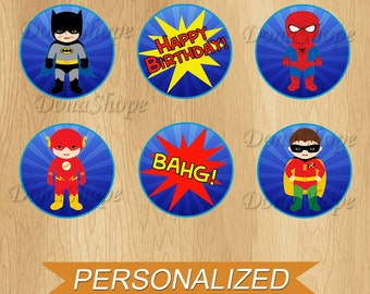 Superheroes baby  Cupcake Toppers, Superheroes baby  Birthday Circles, Personalized , Digital File