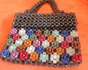 Vintage colorful beaded purse made in Italy