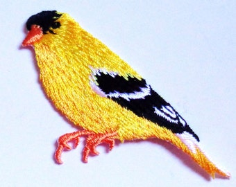 bird yellow finch iron on patch applique