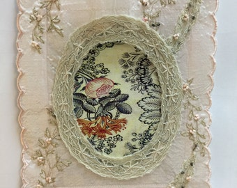 Vintage Embroidered Fabric Photo Frame, Pink Hanging Fabric Picture Frame