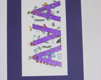 "Whimsical ""I Spy"" kids names. Purple ""Ava;"" 14""x9.5"""
