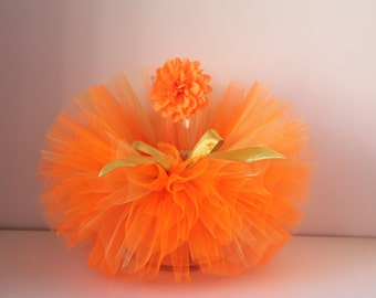 Tutu and Headband Set.Orange and Gold tutu ,Newborn Tutu set , Baby Tutu, Newborn Photo Prop, Photo Prop, Tutus for Children