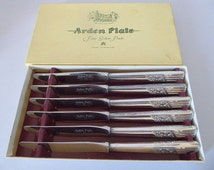 Boxed Set of Six Silver Plated 'New Rose' Dinner Knives, Arthur Price Arden Plate, Firths Stainless Blades, Mid Century Cutlery