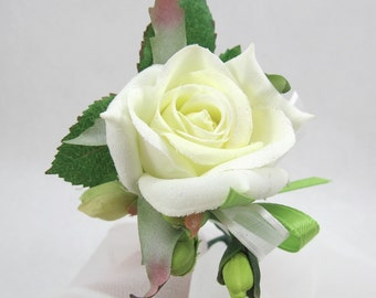 Rose Boutonniere, Cream White Rose Grooms Flower, Groomsmen Floral Lapel Pin, Rose, Lime Ribbon and Berry Tux Flower, Bridal Boutonniere