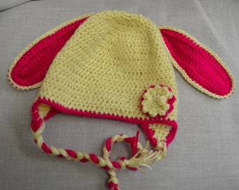 Kids Bunny Hat - pink and cream