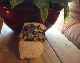 Rose Quartz crochet wrap bracelet