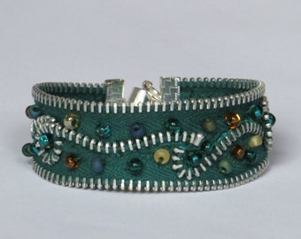 Upcycled green beaded zipper cuff bracelet