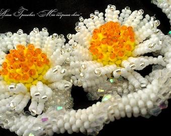 earring is chamomile,White earrings,Beaded earrings,handmade,jewelry, gift for women,the birthday present,floral arrangement,made in Ukraine