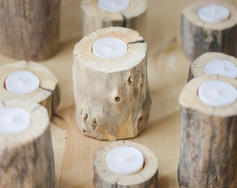 Set of Six Driftwood Candle Holder set of Six | Rustic Wedding Decor | Handcrafted| Home Decor | Woodland | Home and Living |