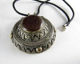 Carnelian seal silver pendant necklace
