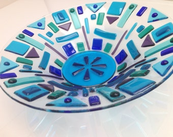 Blue Funky Textured Fused Glass Bowl