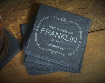 House Warming Gift, Bride Groom Gift, Slate Coasters, Wedding Gift, Personalized Coasters, Custom Coaster Gift - Set of 4 - LES1000056