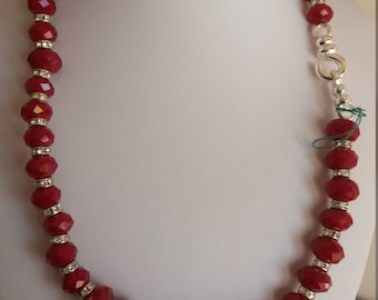swarotski Ruby red glow of rhinestones for this gorgeous Choker silver hook closure